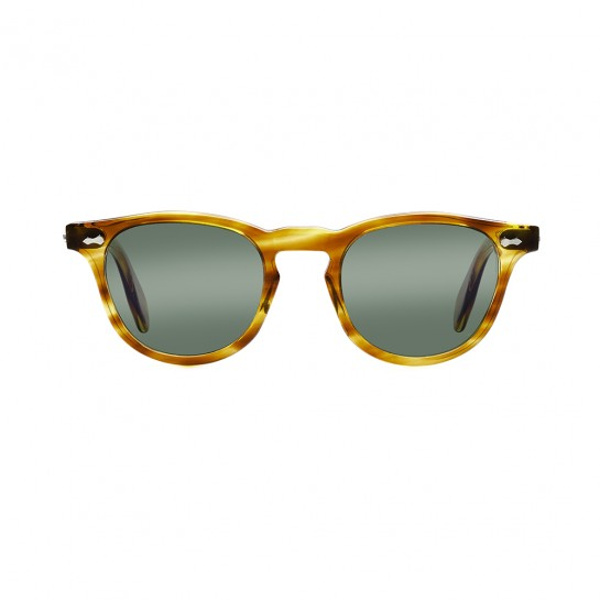 James Dean sunglasses Universal Optical_Mansfield Square crystal honey green lens