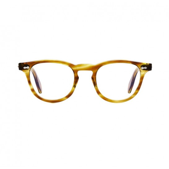 James Dean eyeglasses Universal Optical Mansfield square crystal honey